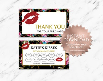 Floral|Boho|Black|Gold|Red|LipSense Thank You Card|LipSense Loyalty Card|Lip Loyalty|Makeup Loyalty|Printable|Editable|Customizable|Template