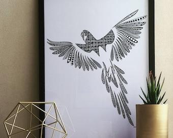 Zentangle Parrot Digital Print