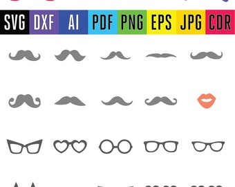 Photo Prop Mustache Sunglasses Lips Kisses SVG Cut Files for Vinyl Cutters DIY party Screen Printing Silhouette Die Cut Machines Cricut svg