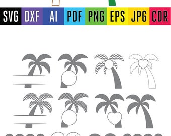 Palm tree monogram frames Palm tree cuttables Vinyl cut palm tree files for Silhouette Cricut in Dxf Svg Pdf Eps Png Pdf Cdr file formats