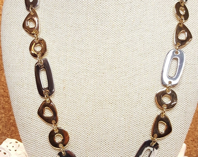 """KJL Vintage Large Fancy Links Chain 26"""" to 29"""" Necklace Silver Gold Triangles Rectangles Circles Holiday"""