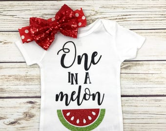 One In A Melon First Birthday Outfit For Baby Girl