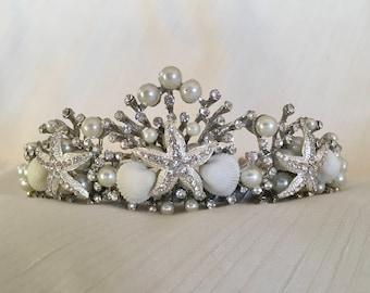 Sabrine Shell Tiara, Beach Wedding Shell Crown, Beach Bride Headpiece