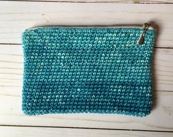 Ocean Blue Zippered Bag, crochet bag, crochet purse, crochet clutch, crochet makeup bag, crochet coin purse, crochet organizer