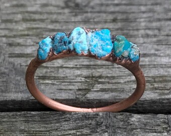 Raw turquoise ring / Sleeping beauty turquoise / Turquoise stacking ring / Raw gemstone ring / Gift for her /  Gift for wife / Copper