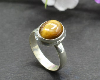 Natural Tiger's Eye Oval Gemstone Ring 925 Sterling Silver R708