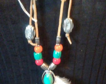 Handmade Fashion Scarf, Belt, Necklace With Turquoise Beads & Feathers