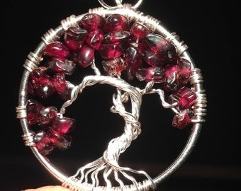 Sale! Garnet Tree of Life Necklace Pendant. Wire Silver Plated.Tarnish Resistant Silver. Silver plated Chain