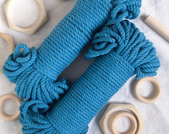 Turquoise* blue cotton rope, macrame rope, 60 meters, 5mm, 200 feet, macrame cord, blue cord, craft supplies, blue macrame rope