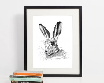 Hare picture | Hare Print | Hare print art | Mother's day gift