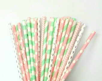 Mint Green, Light Pink & Silver Paper Straws - Pink, Silver and Mint Drinking Straws - Pink and Mint Party Decorations - Silver Decorations
