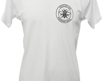 White Honorary Manc Manchester Bee Pocket Print T-Shirt (TSHIRT41) Produced in UK Hacienda Northern Quarter Manc and Proud Vinyl Print Bee