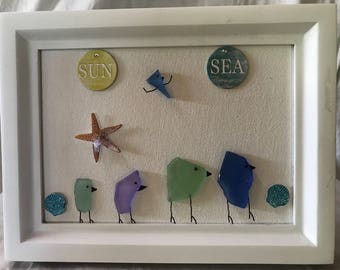 Sea Glass Picture Art - Strolling on the beach