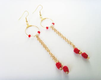 Golden red earrings red white beads.