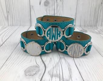 Aqua Monogram Cuff, Monogram Bracelet, Leather Bracelet, Leather Cuff, Monogrammed Bracelet, Monogram Gift, Monogram Cuff, Monogrammed