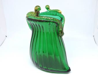 Large Murano glass handbag in bright green. Beautiful as a piece of furniture or as a necklace holder. Gift Idea! Blown Murano Glass