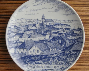 Vintage PORSGRUND POTTERY, Norway -  Blue & White Round Plate Breviks Kirker - Limited Edition Plate – Norwegian Church Scandinavian Pottery