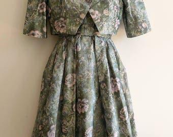 Hardy Amies Couture floral taffeta 50s dress with matching bolero jacket