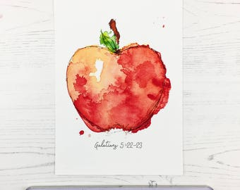 Watercolour Print, Fruit of the Spirit – Apple, art print, home decor, watercolor, christian art, bible art