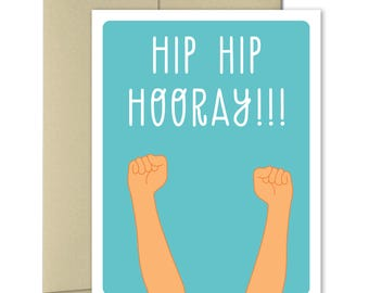 Congratulations Card - Greeting Cards - Congrats Cards - Graduation cards - Celebration Cards - Hip Hip Hooray