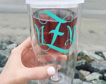 Monogrammed Wine Glass Tumbler/ Custom Wine Glass Tumbler/ Personalized Wine Glass Tumber/ Wine to Go/ Wine Tumbler