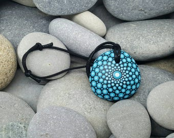 Turquoise Blue Mandala Stone Necklace - Painted Rock - Pendant Jewelry - Paint Rock - Mandala Pendant - Chakra - Meditation