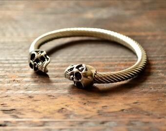 Skull Bracelet, Gothic bracelet, Stainless Steel Bracelet, Men's Gift, Antique Silver Bracelet, Men's Bracelet