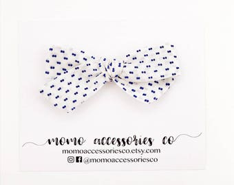 MiLa Hand-tied Bows/Vintage Blue Swiss Dot
