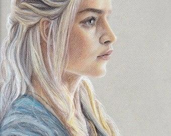 Game of Thrones - Mother of Dragons   art print   GoT art   Daenerys  Targaryen   Khaleesi  Emilia Clarke