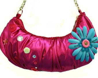 Banana pouch purse, small pocket inside (zipper) Fuchsia, blue, flower, Rhine stone, Promo, prom