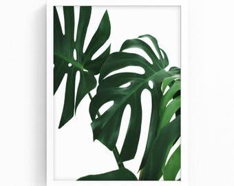 Monstera Leaf Printable Art, Palm Leaf Print, Tropical Print Wall Art, Monstera Print, Scandi Printable, Scandi Print, Botanical Prints