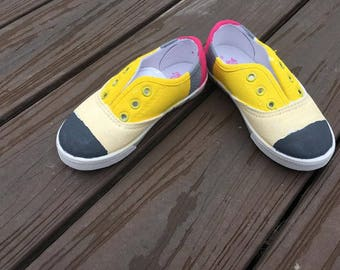 pencil shoes, back to school shoes, PreK shoes, pencil shoes, hand painted shoes, toddler & youth size
