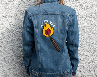 That's Hot Burning Stick Customized Denim Jacket Size S