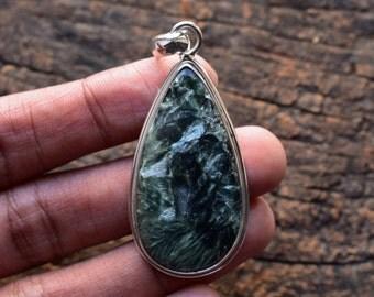 seraphinite pendant,natural seraphinite pendant,seraphinite necklace,925 silver pendant,gemstone pendant