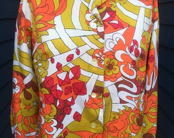 1960s-70s Psychedelic Printed silk top // silk blouse // Colorful blouse