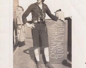 Vintage Found Photo Hollywood Commando Funny Soldier Sailor Military Black & White Antique Snapshot Paper Ephemera Art Design Decor Old