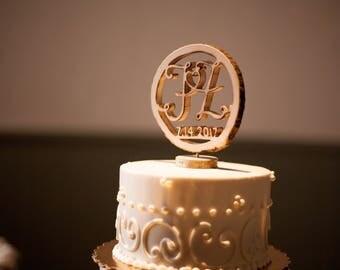 Wood wedding cake topper, Wedding cake topper, Wood slice cake decor, Rustic cake topper,  Wood slice topper, Initial cake topper, Custom