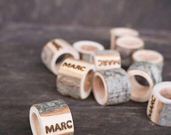 Personalized napkin rings, Wedding napkin rings, Rustic wedding decor, Wedding keepsake,  Wood napkin holder, Barn wedding decor, Boho decor