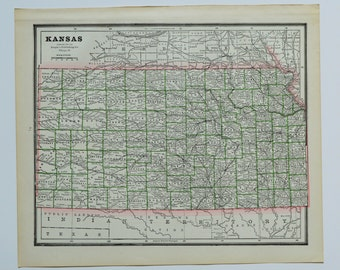 1888 Kansas Nebraska Antique Map Old Us State Map Vintage Ks Ne