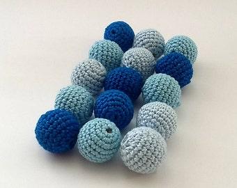 "Crochet beads 18 mm 5 PCS 5/8"" Wooden crochet cotton beads Handmade crocheted wooden beads Blue Teething beads Nursing necklace Jewelry"