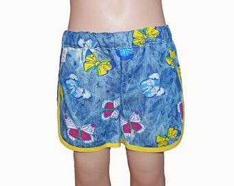 Summer Shorts, Girls Shorts, Butterfly, Denim, 4T
