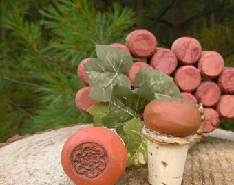Wine Cork Stoppers with terracotta clay tops