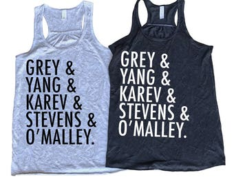 Grey and Yang and Karev and Stevens and O'Malley , TShirt , Flowy Racerback Tank Top , Grey's Anatomy Shirt , Grey's Anatomy Gifts