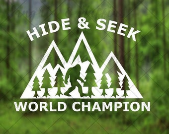 Hide and Seek World Champion Sasquatch with mountains and trees - car, window, laptop, tablet decal - PNW, midwest decal