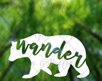 Wander Bear decal - car decal - window decal - laptop decal - tablet decal - travel, hiking, outdoors decal