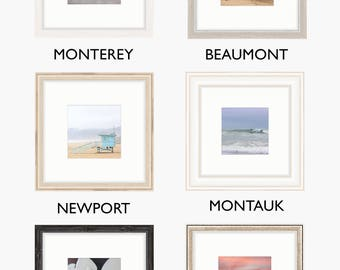 Set of four framed images - collage home decor photography wall art unique display beach surfing sailing landscape flowers