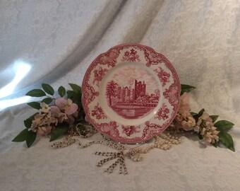 "Red/Pink Transferware, ""Old Britain Castles"", Johnson Bros. England"