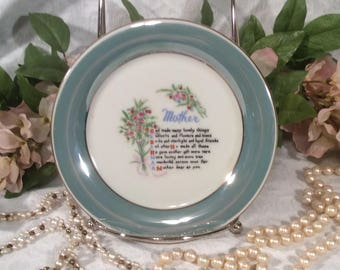 Mother Plate, Dixie Japan, Teal Lusterware trimmed in Gold