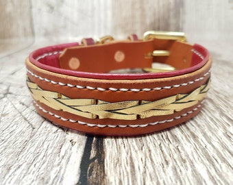 Lined and laced Classic Buckle Leather Dog Collar - 1'' (large)