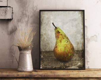 Olive green wall art, A3 wall decor, PRINTABLE arts, Kitchen art green, Pear wall decor, Fruit art prints, Fruit wall art, Food art decor